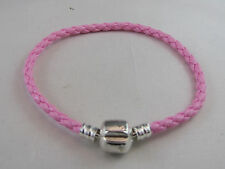 19cm SP BRIGHT PINK BRAIDED LEATHER CHAINS FOR EUROPEAN STYLE CHARM BRACELETS