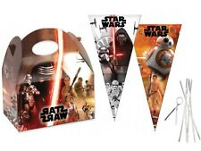15 Star Wars Party Food Boxes & Matching Cone Sweet Loot Favour Bags & Tie