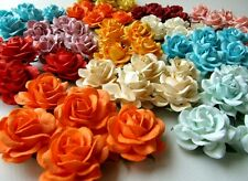 25 BIG MIXED ARTIFICIAL MULBERRY PAPER FLOWER ROSE WEDDING SCRAPBOOK CRAFT CARD