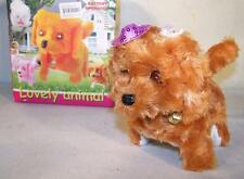 FUZZY WALKING BARKING TOY MOVING DOG play pet battery operated NEW LIGHT EYES