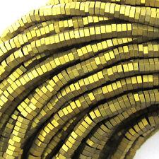 """3mm gold matte hematite heishi hexagon beads 8"""" strand"""