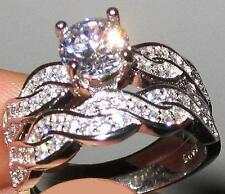 STERLING SILVER 4.6 CARAT TW SIMULATED MOISSANITE 2 WEDDING RINGS SET SIZE 6