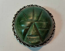 LARGE MEXICAN SILVER FACE MASK JADE GREEN SCARAB BROOCH PENDANT - MEXICO