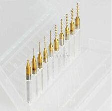 10 Titanium Nitride Coated Carbide 0.2mm-1.1mm PCB Dremel CNC Drill Bits Router