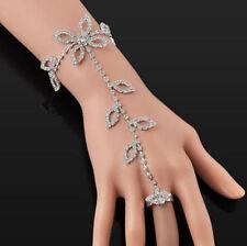 Foot Chain Link Finger Ring Harness Slave Bracelet Crystal Rhinestone Hand Leaf