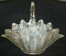 L E SMITH LARGE 13 3/4d X 10 1/2 h Lrg Basket w/Applied Handle FEATHER Pattern