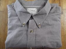 Mens (XL) LL BEAN L/S Houndstooth Pattern 100% Cotton Buttonfront Shirt