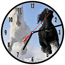 "8"" WALL CLOCK - Horse 23 Horses Equestrian - Kitchen Office Bathroom Bar Bedroom"