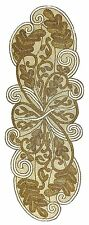 Cotton Craft - Scrolling Leaves Hand Beaded Table Runner - Ivory-Gold - 13x36 -
