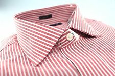New Mens Tommy Hilfiger Designer Button Dress Shirt 15 32/33 Red White Slim Fit