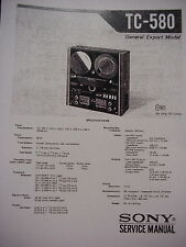 SONY TC-580 TAPE DECK SERVICE MANUAL WITH TWO SUPPLEMENTS 88 Pages