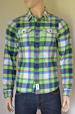 NEW Abercrombie & Fitch Railroad Notch Flannel Shirt Green & Navy Blue Plaid S