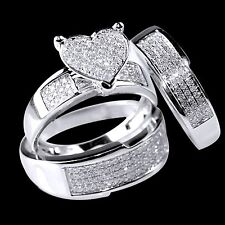 10K White Gold Over Diamond Heart Engagement Ring Wedding Trio Set For His & Her