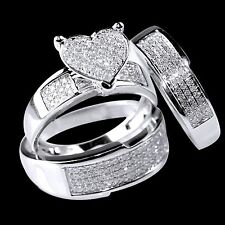 10K White Gold Diamond Heart Engagement Ring Wedding Trio Set For His And Her