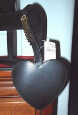 VINTAGE YET NEW MOSCHINO BLACK LEATHER WRISTLET HEART CLUTCH/HANDBAG WITH COVER