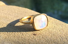 Moonstone Stackable Gold Ring Stackable Vermeil Size 5 with Flash
