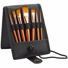 Paint Brush Set - 7 Travel Brushes for Acrylic, Oil, Watercolor, Gouache NEW