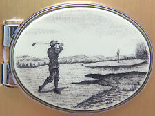 Money Clip Oval Barlow Scrimshaw Carved Painted Art Golf Golfing Golfer 539402