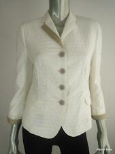 $1290 AKRIS PUNTO 8 M Textured Polka Dot Jacquard Cotton White Jacket Blazer EUC