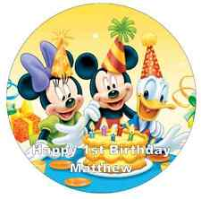 "Mickey Mouse Birthday Personalised Cake Topper 7.5"" Edible Wafer Paper"