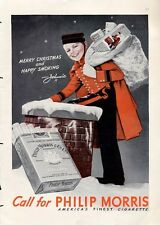 """1938 Philip Morris Cigarettes  """"Johnnie"""" Delivering Gifts PRINT AD"""