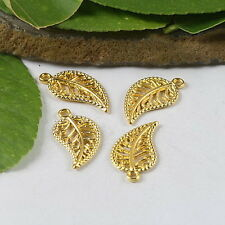 50 Pcs Gold tone  leaves charms findings h0478
