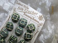 RARE ANTIQUE VICTORIAN GERMANY HDMD SILK BUTTONS GREEN CREAM GRAY 4 PC 1/2""