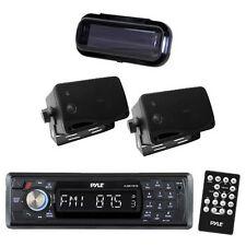 Marine PLCD17BTB Indash MP3 Media Player & Wireless Bluetooth 2 Speakers + Cover