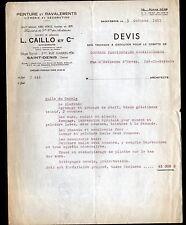 """SAINT-DENIS (93) PEINTURE RAVALEMENTS VITRERIE DECORATION """"L. CAILLO"""" en 1957"""