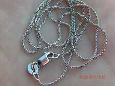 "HIGH QUALITY DELICATE WHEAT CHAIN 18K 750 SOLID WHITE GOLD 17.75"" 0.8mm 2.2g"