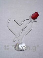 Red Rose and HEART@AUSTRIAN CRYSTAL@Glass@Unique VALENTINES@CUT Crystal Gift Set