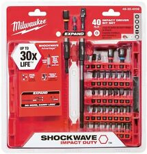 Milwaukee 40-Piece Impact Drill Bit Set Steel Screw Driver Driving Kit Bits Tool