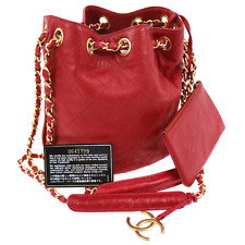 Auth CHANEL Quilted CC Chain Drawstring Shoulder Bag Red Leather Vintage AK12207
