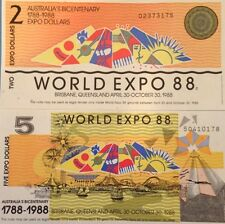 AUSTRALIA 1988 WORLD EXPO 2 & 5 DOLLAR BICENTENARY UNC NOTE PAIR USA SELLER !!!