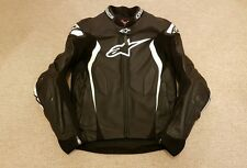 ALPINESTARS GP TECH 2014 BLACK/WHITE LEATHER MOTORCYCLE JACKET EU48 UK38 USED 2