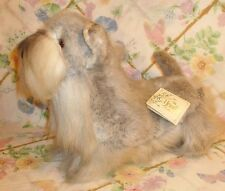 "VINTAGE RUSS YOMIKO STUFFED PLUSH GREY SCHNAZUER DOG CLEAN MWT 13"" LONG STANDING"