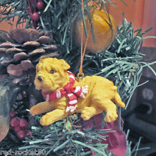 Shar Pei Pup Ornament, Red Scarf, Resin, Hanging or Free Standing