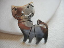 Vintage 925 Sterling Silver Cat With Cut Out Smile Brooch  RE2817