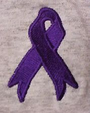Purple Awareness Ribbon T-Shirt M Cancer Cause Embroidered S/S Unisex Tee New
