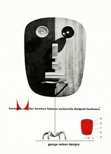 MID CENTURY 1950'S GEORGE NELSON HERMAN MILLER ADVERTISEMENT A3 POSTER ART PRINT