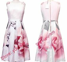 Ted Baker London Ecru Riina Porcelain Rose Bow Skirt Flare Dress 3 (US 8) $369