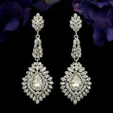 Rhodium Plated Clear Crystal Rhinestone Drop Wedding Dangle Earrings 5988 Prom