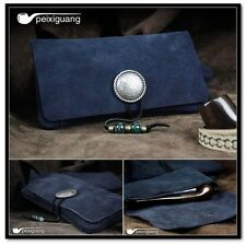 Portable Geninue Suede Leather Blue Tobacco Smoking Holder Pouch Bag Pipe Case