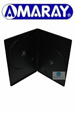 25 Double Black DVD Case Slim 7 mm Spine Replacement Cover Face on Face Amaray