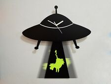 UFO Abducting Cow Silhouette - Pendulum Wall Clock
