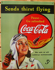 Coca Cola Send Thirst Flying TIN SIGN vintage aviation metal coke ad poster 1045