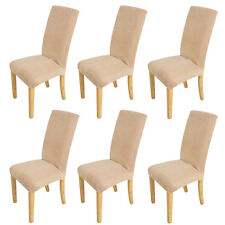 6pcs Super Fit Dining Room Chair Cover Slipcover Seat Protector Removable Beige