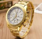 Men's Boys Gold Plated Stainless Steel Date Military Luxury Sport Quartz Watch