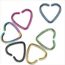 Unisex Heart Clip On Captive Ring Fake Nose Lip Cartilage Earring No Piercing