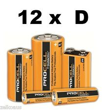 12 Duracell Procell Industrial D Batteries PC1300 1.5V R20 professional Alkaline